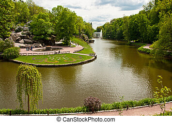 Beautiful view on the lake and fountain in Sofiyivsky Park...