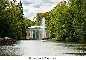 Beautiful fountain on the lake in Sofiyivsky Park in Uman,...
