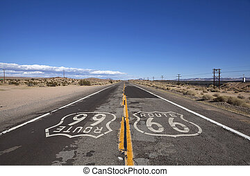 Route 66 Mojave Desert - Rustic section of Route 66 deep...