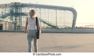 Blonde Sexy Business Woman in Airport - Blonde Business...