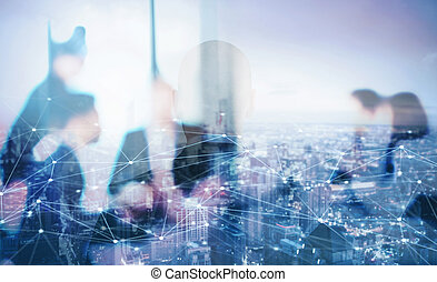 Silhouette of businessperson in office with network effect....