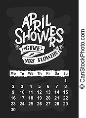Vector calendar for April 2 0 1 8. Hand drawn lettering...