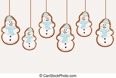 Hanging gingerbread snowmans cookies. Christmas background....