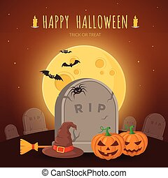 Witch hat and besom on grave. - Halloween party background...