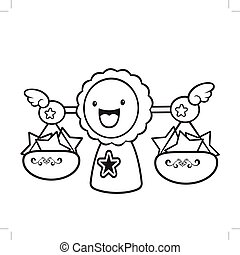 Black And White Balance character sits aside. Signs of Zodiac Isolated Libra Vector Illustration.