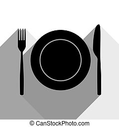 Fork, Knife and Plate sign. Vector. Black icon with two flat gray shadows on white background.
