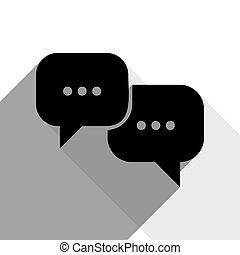 Speech bubbles sign. Vector. Black icon with two flat gray...