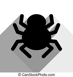 Spider sign illustration. Vector. Black icon with two flat gray shadows on white background.