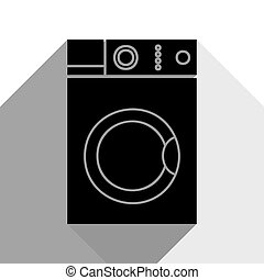 Washing machine sign. Vector. Black icon with two flat gray shadows on white background.