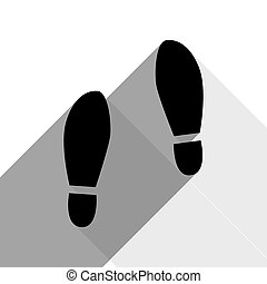 Imprint soles shoes sign. Vector. Black icon with two flat...