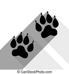 Animal Tracks sign. Vector. Black icon with two flat gray shadows on white background.