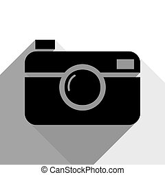 Digital photo camera sign. Vector. Black icon with two flat...