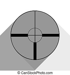 Sight sign illustration. Vector. Black icon with two flat gray shadows on white background.