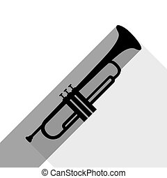 Musical instrument Trumpet sign. Vector. Black icon with two...