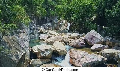 Flycam Moves above Mountain River Running in Steep Gorge -...