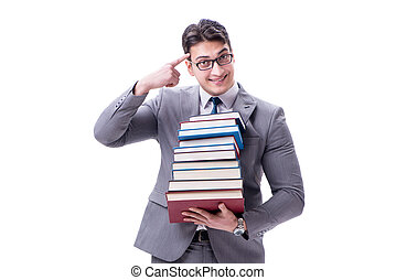 Businessman student carrying holding pile of books isolated...
