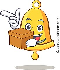 With box school bell character cartoon
