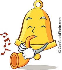 With trumpet school bell character cartoon