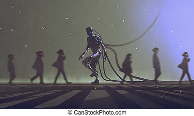 robot walking to different way among the people