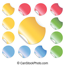 Peeling Round Stickers - Set of colorful round stickers with...