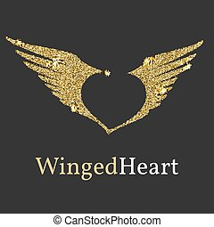 Logo with a Golden glitter, sheen. Symbol with wings and a...
