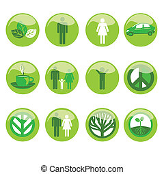 Ecological Icon Set - A set of 12 free standing ecological...