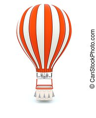 Red hot air balloon isolated on white