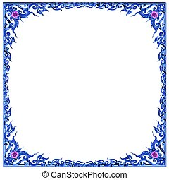 blue flowery frame - frame for scrapbooking and collage...