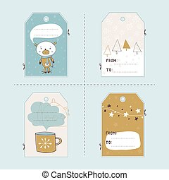 Christmas set of tags