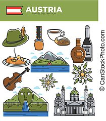 Austria travel destination promotional poster with country...