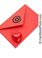 love E-Mail - Red Envelope and heart shape, concept of love