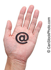 E-Mail - hand hold 'at' Symbol, e-mail concept