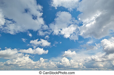 Deep blue sky and clouds. Nature airscape.