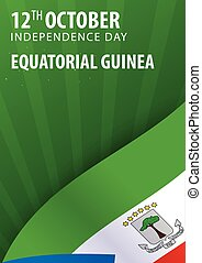 Independence day of Equatorial Guinea. Flag and Patriotic...