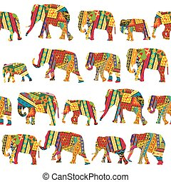 Seamless pattern with elephants in ethnic motifs
