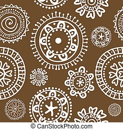 White doodle flowers on brown background