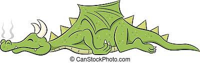 sleeping cartoon dragon - vector illustration of a sleeping...