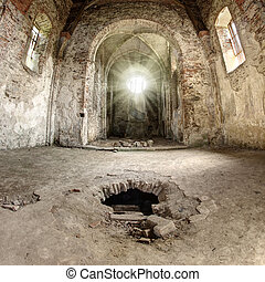 God beams in the ruins of abandoned church, Pivon, Czech...