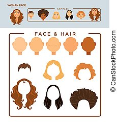 Woman face constructor with samples of heads and hairstyles...