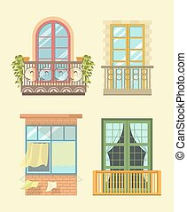 Nice windows in European style with small cozy balconys -...