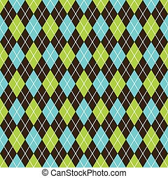 Seamless argyle pattern background. Black, blue and lime green pattern.