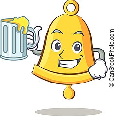 With juice school bell character cartoon
