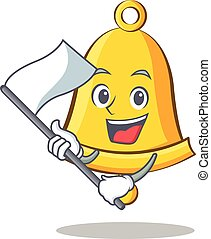 With flag school bell character cartoon