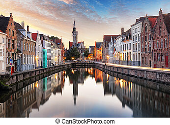 Bruges, Belgium - Scenic cityscape with canal Spiegelrei and...