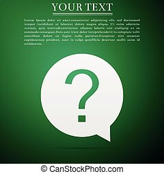 Question mark in circle icon isolated on green background. Hazard warning symbol. Flat design. Vector Illustration