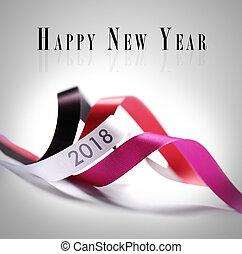 -, 挨拶, 2018, 年, 新しい, カード, 幸せ