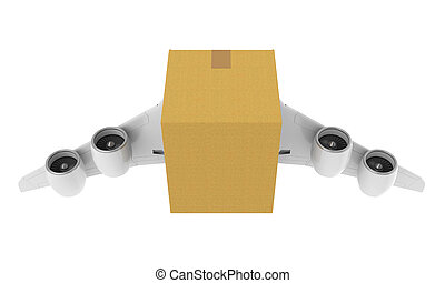 Cardboard with Jet Engines and Wings Isolated - Cardboard...