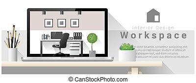 Interior design of modern office workplace 4