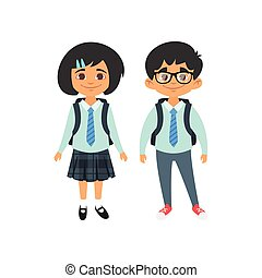 boy and girl in school uniform - Vector cartoon style school...