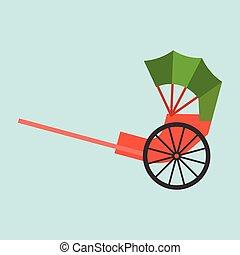 Hong kong rickshaw icon, flat design vector